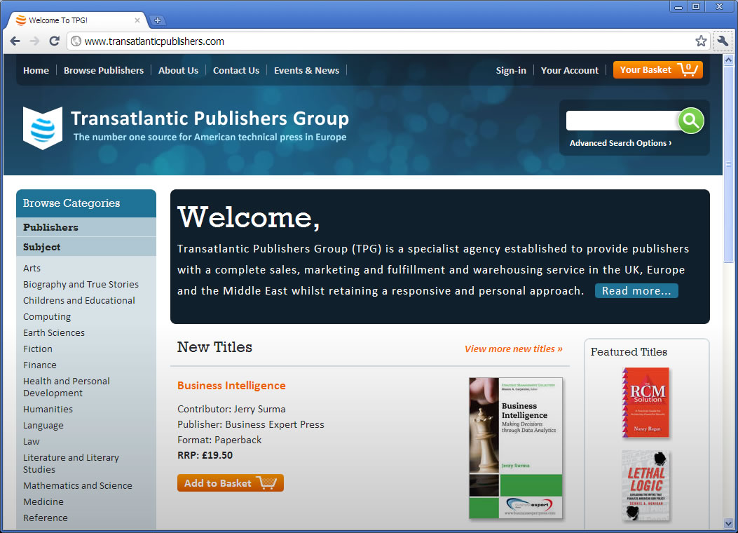 Transatlantic Publishers Group home page