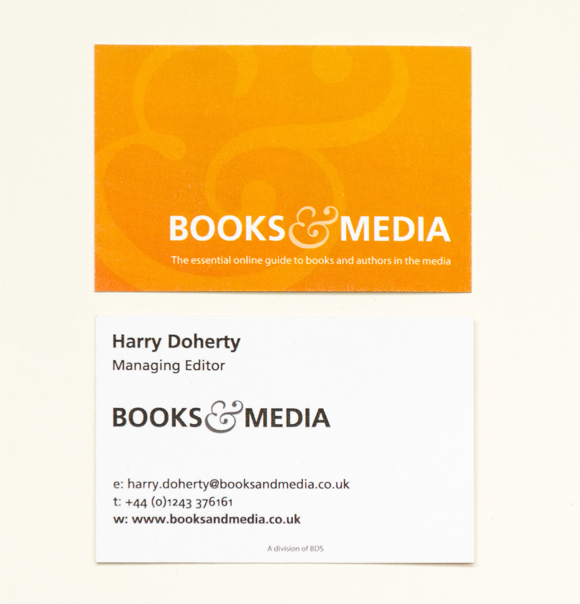 Books & Media business card for Harry Doherty front and rear