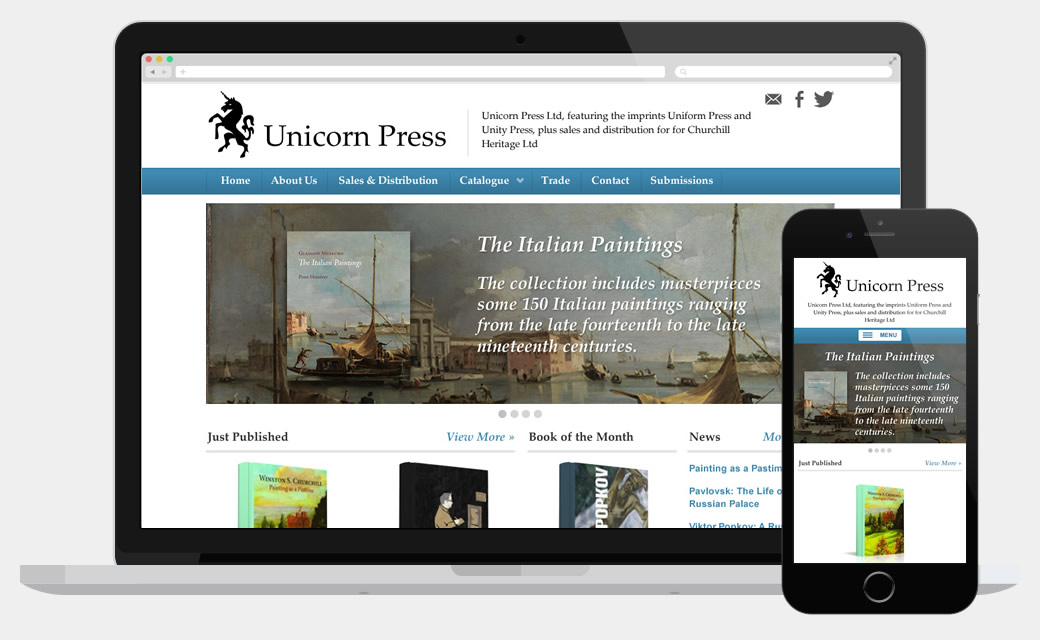 Responsive e-commerce web design for Unicorn Press