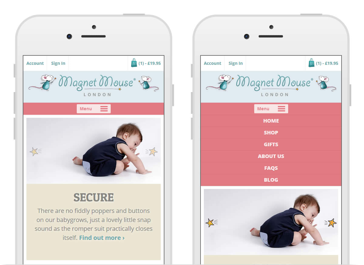 Magnet Mouse website mobile screen