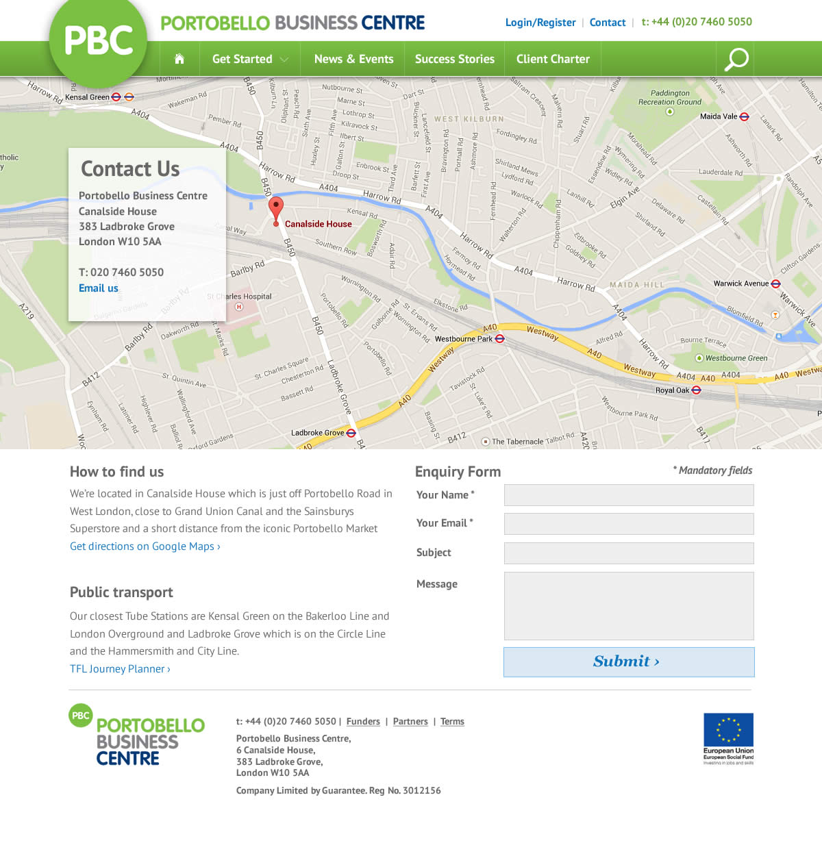 Web design for The Portobello Bisiness Centre contact page