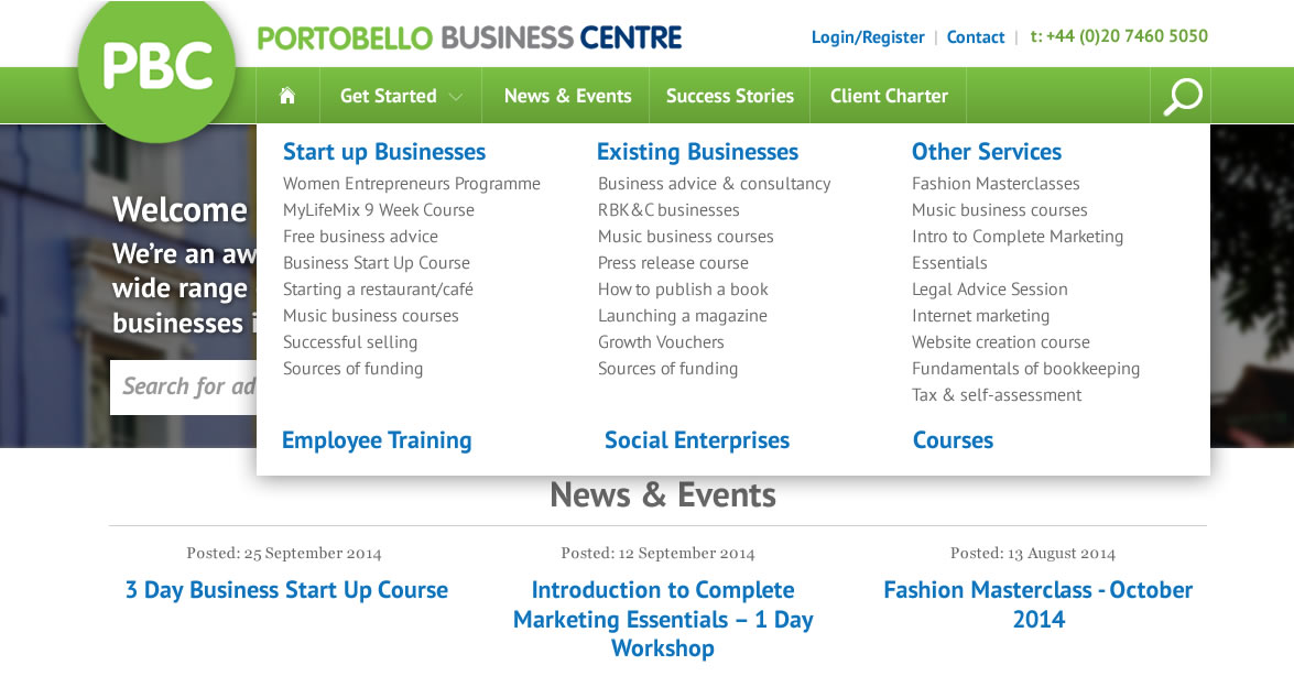 Portobello Business Centre dropdown navigation menu