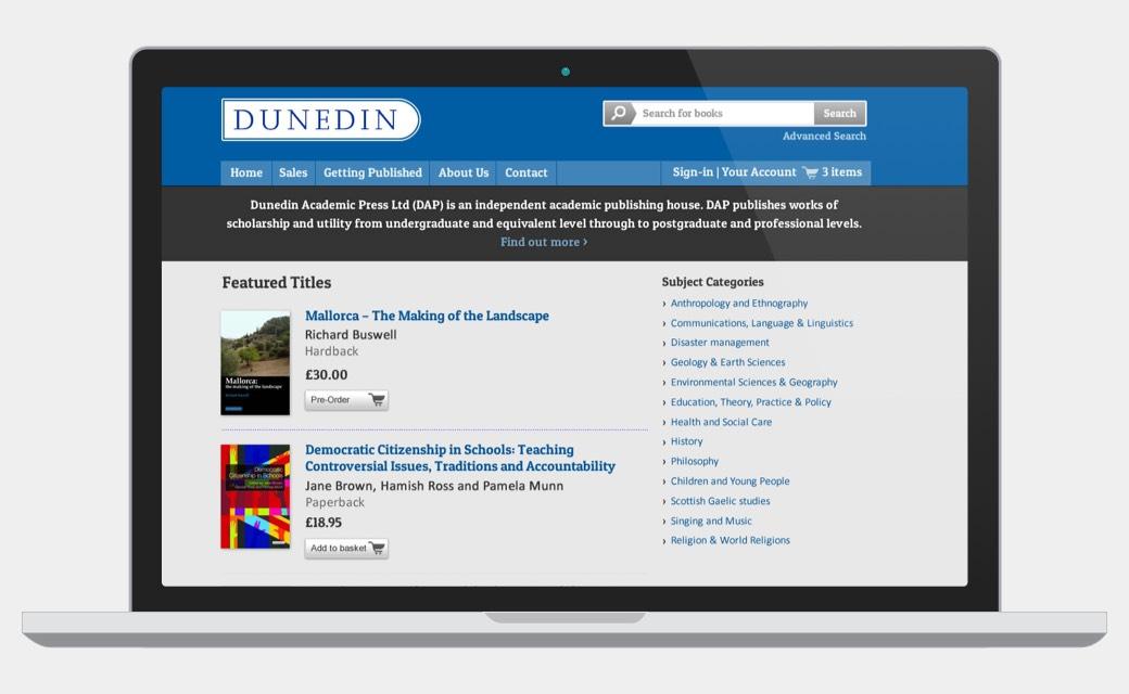 Dunedin Academic Press homepage screenshot