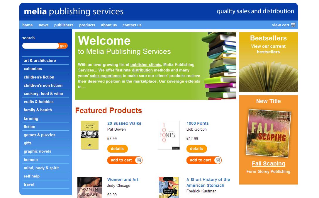 Melia Publishing Services website design